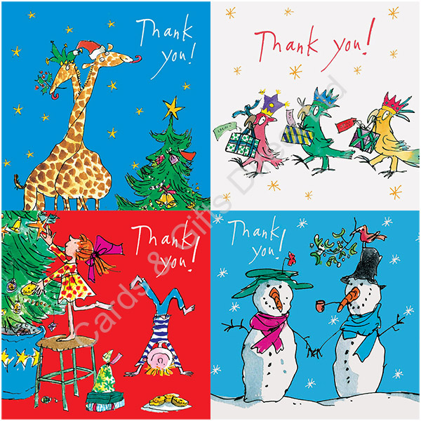 Woodmansterne Quentin Blake Christmas Thank You Cards Pack Of