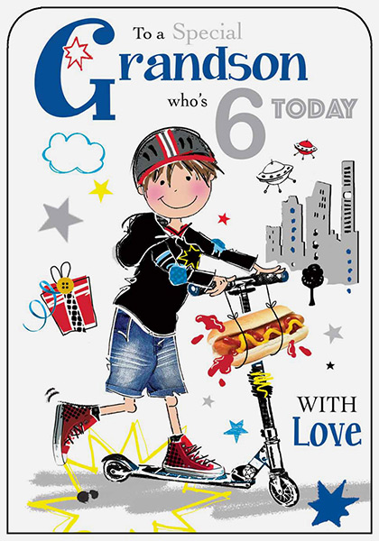 6 Today Greeting Card Age 6th Birthday Boy Scooter  No