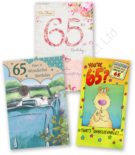 Details About Happy 65th Birthday Greeting Card