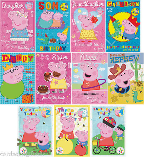 Details About Peppa Pig Birthday Card George Greeting Cards Ages Daddy Daughter Son More