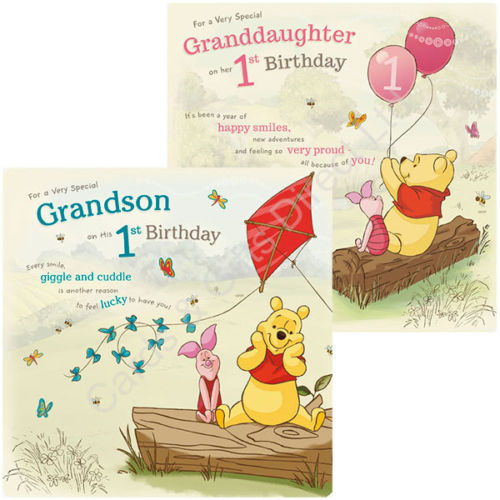 Winnie The Pooh 1st Happy Birthday Card Granddaughter Grandson Cards