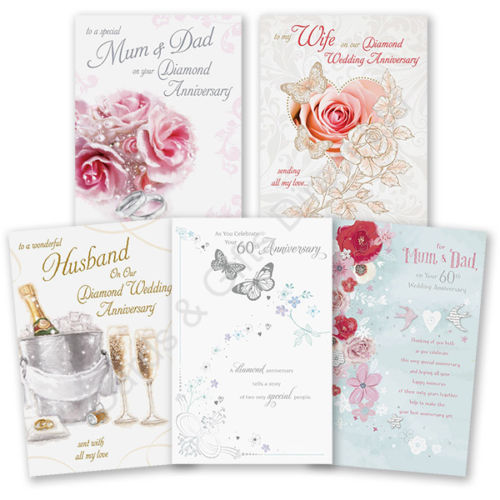60th 60 diamond wedding anniversary greeting card mum dad wife 60th diamond wedding anniversary cards choice of designs available m4hsunfo